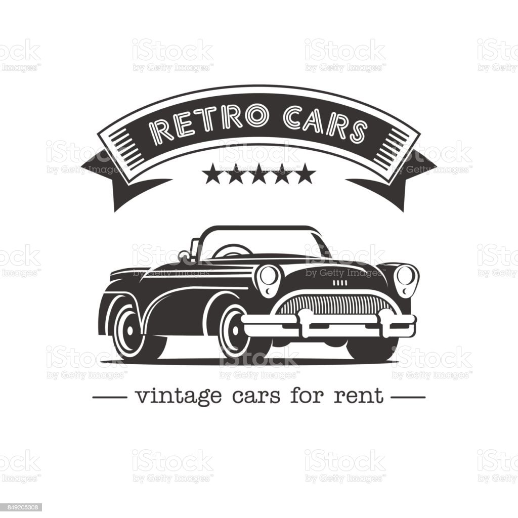 Vintage Car Sale Rental Of Vintage Cars Monochrome Vector Icon Retro ...