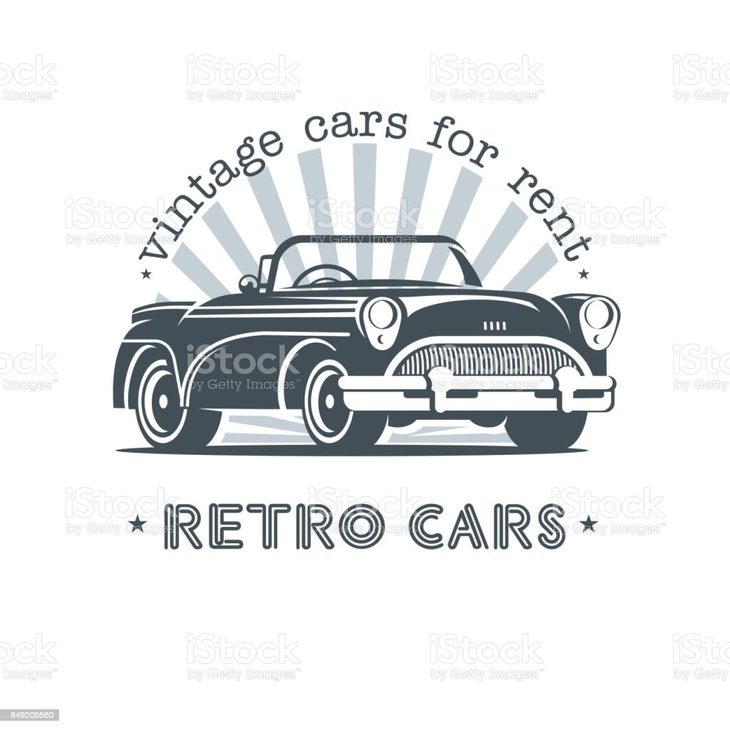Vintage Car Sale Rental Of Vintage Cars Monochrome Vector Icon Stock ...