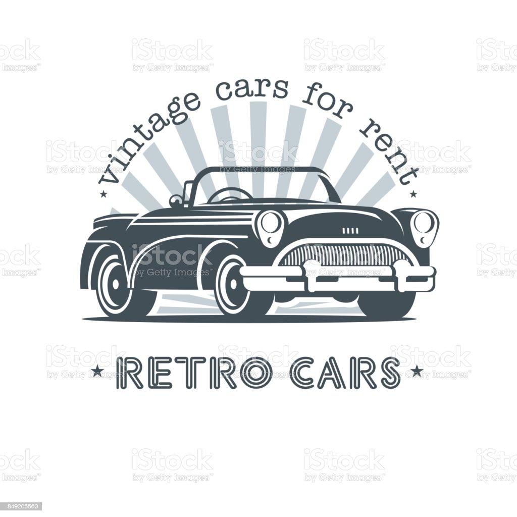 Vintage Car Sale Rental Of Vintage Cars Monochrome Vector Icon Stock ...