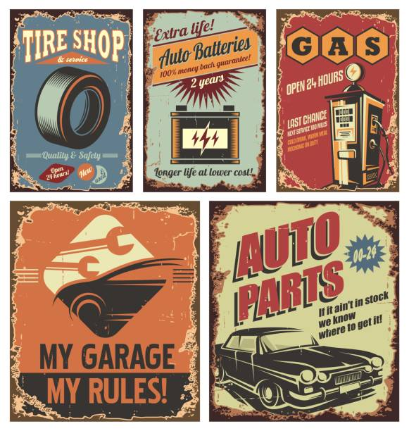 vintage car service tin signs and posters - 1940s style stock illustrations