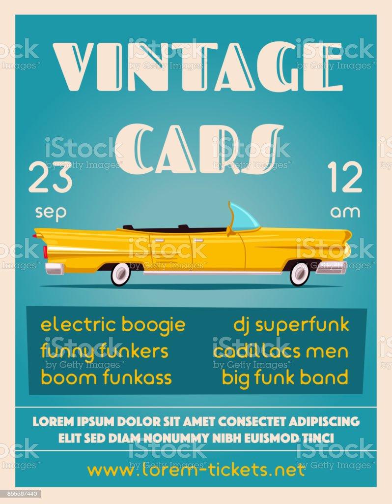 Vintage Car Show Banner Old Auto Cartoon Vector Illustration Stock ...