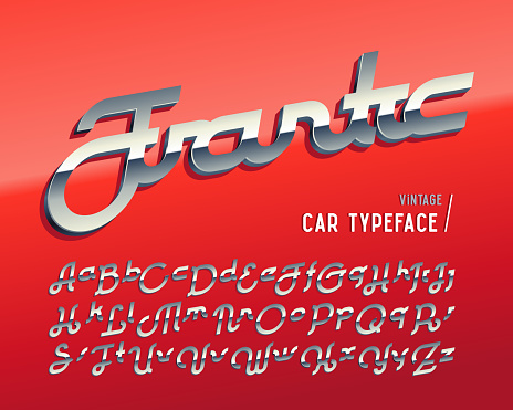 """Vintage car typeface named """"Frantic"""" with crome 3d effect on glossy red background"""