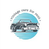 Vintage car. Vector badge, icon, retro cars for rent.