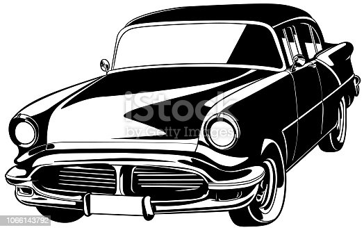 Classic car illustration isolated on white background. Black and white.