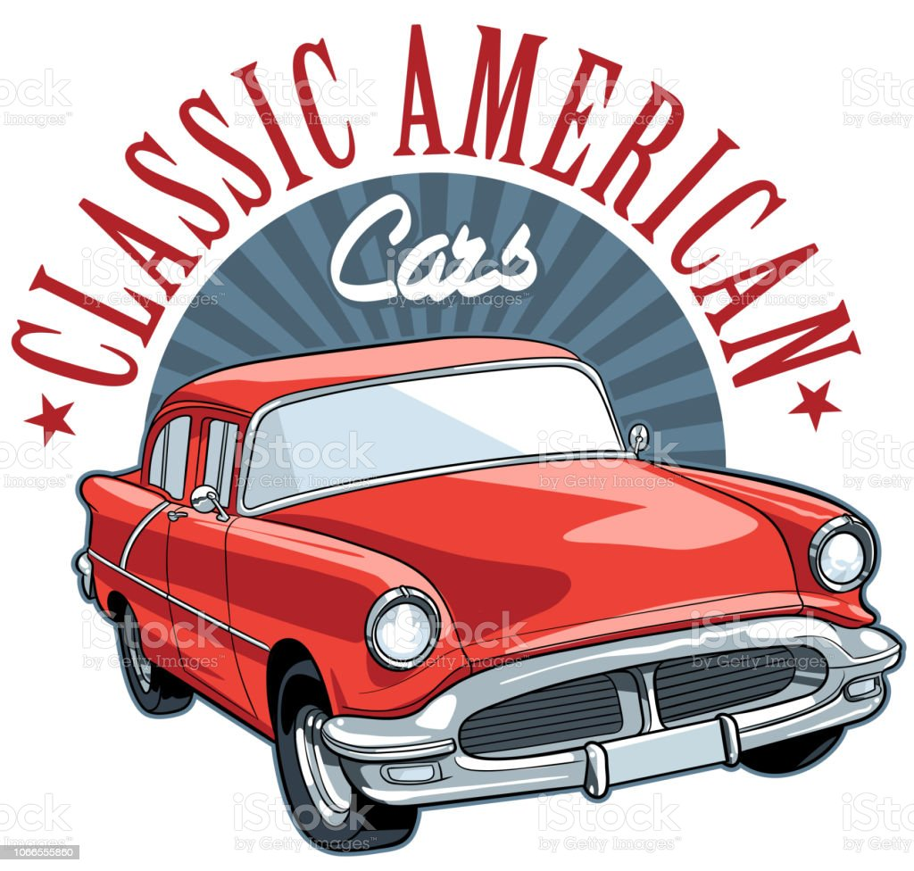 Vintage Car vector art illustration