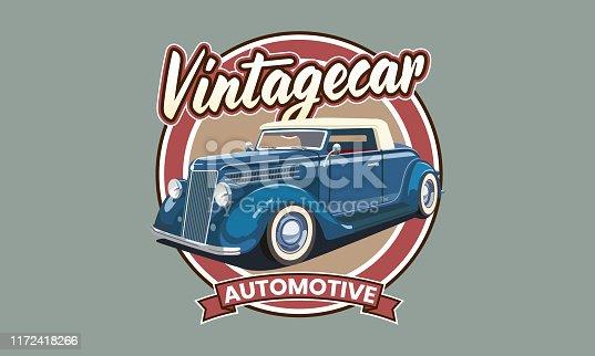 Vintage car on blue background gray