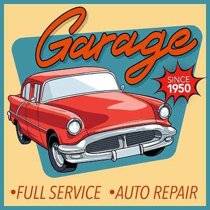 Vintage garage poster with car in vector.