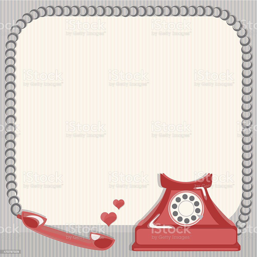 Vintage card and old telephone vector art illustration