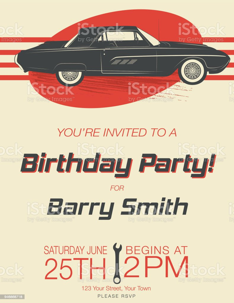 Vintage Card Birthday Party Invitation Stock Vector Art More