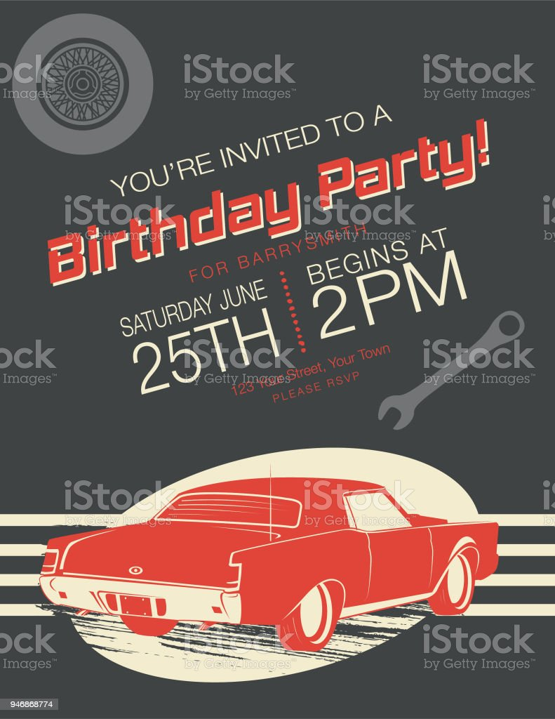 Vintage Card Birthday Party Invitation Stock Vector Art & More ...