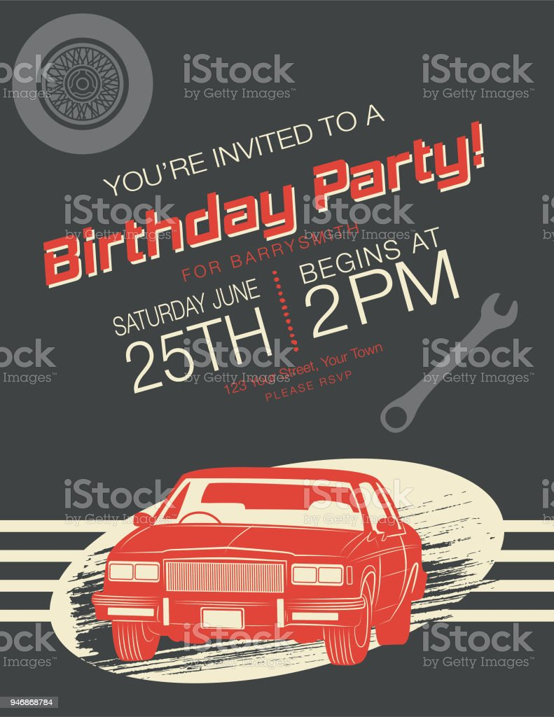 Vintage Card Birthday Party Invitation Stock Illustration Download