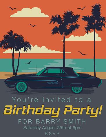 Vintage Card Birthday party Invitation