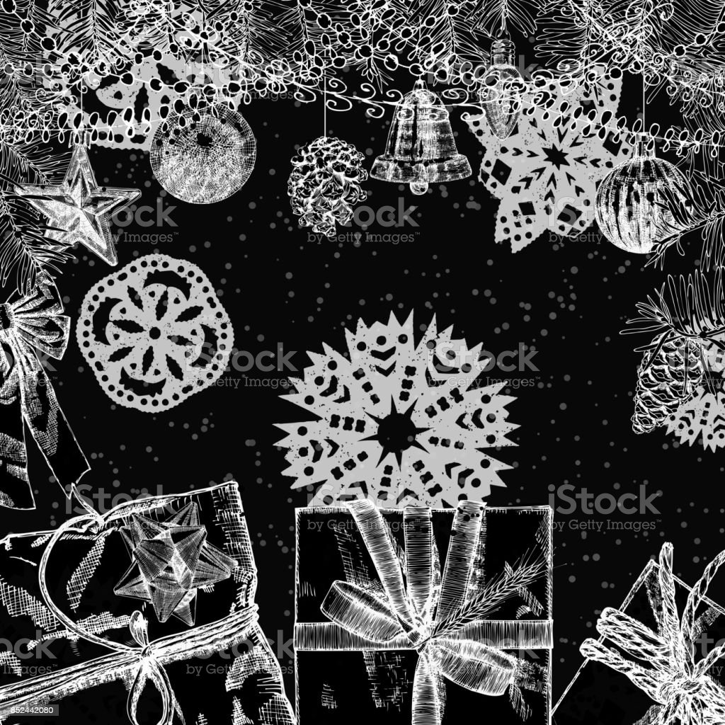 vintage card christmas frame with toys and decorations black and white christmas and