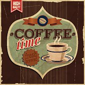 Vintage card - coffe time. Vector illustration.