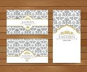 Vintage card design for greeting card, invitation,banner, business card. Set of Retro eastern background.