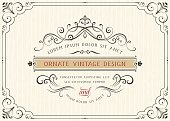Horizontal vintage ornate greeting card with typographic design, calligraphy swirls and swashes. Can be used for retro invitations and royal certificates. Vector illustration.