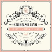 Square vintage ornate template with monogram and typographic design. Can be used for retro invitations, greeting cards and royal certificates. Vector illustration.