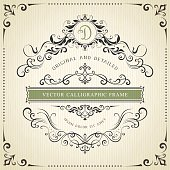 Square ornate vintage template with typographic design on the textured background. Can be used for retro invitations, greeting cards and royal certificates. Vector illustration.