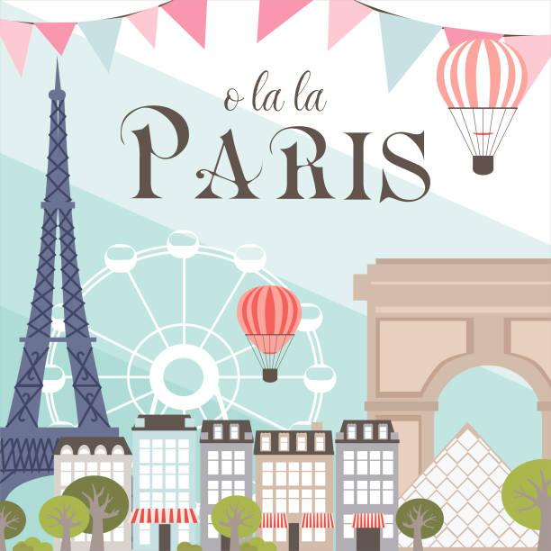 ビンテージ カード パリのランドマーク - パリのファッション点のイラスト素材/クリップアート素材/マンガ素材/アイコン素材