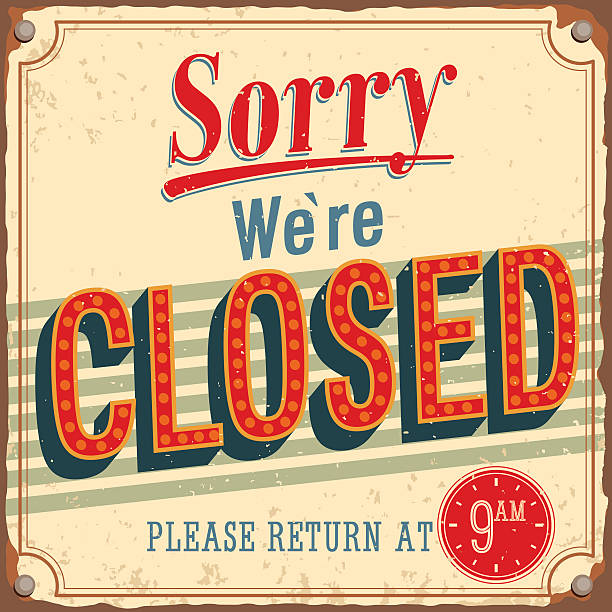 illustrazioni stock, clip art, cartoni animati e icone di tendenza di vintage card-siamo spiacenti, siamo chiusi. - cartello chiuso