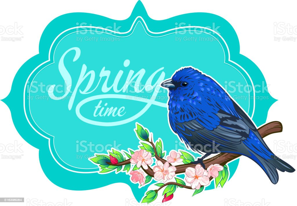 Vintage card spring vector art illustration
