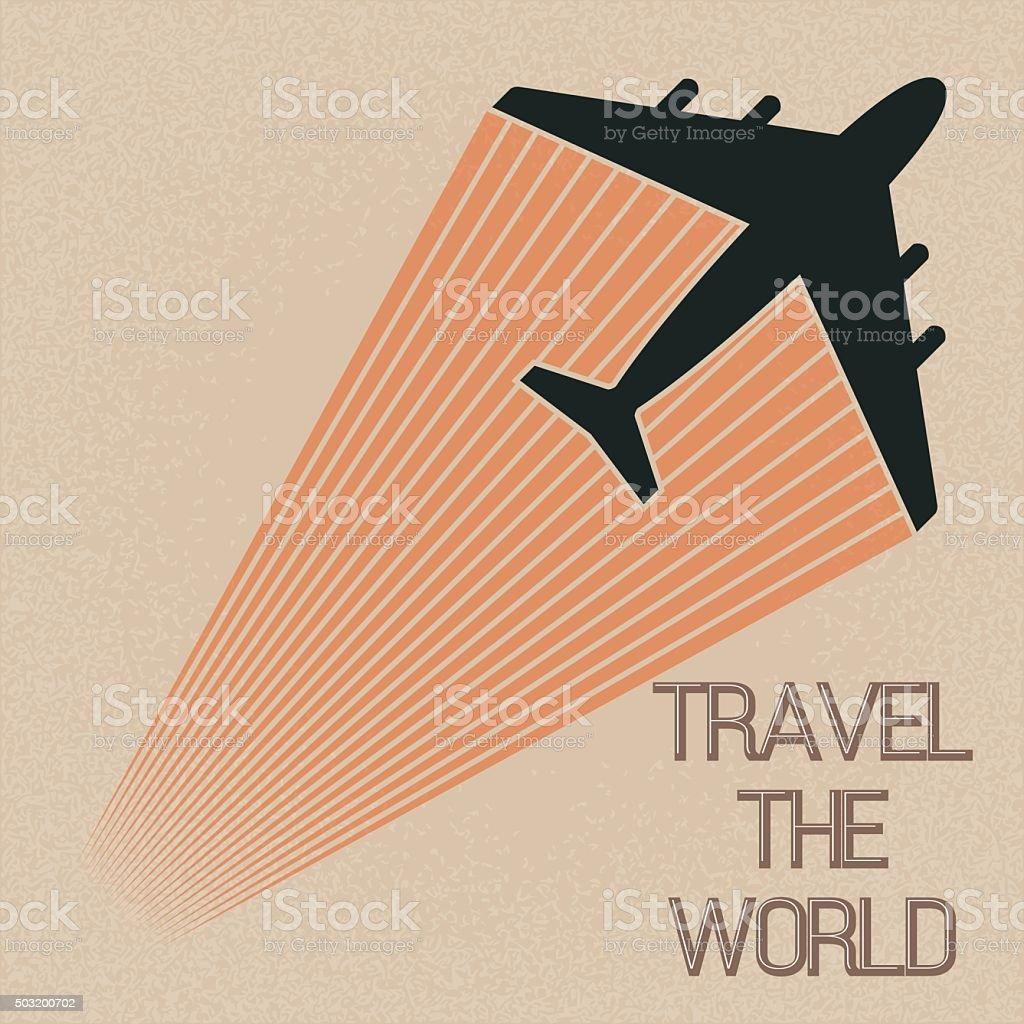 Vintage tarjeta viaje por el mundo