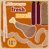 Vintage card with a picture of meat products