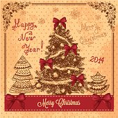 Vector Vintage Christmas Card for Holiday Design.