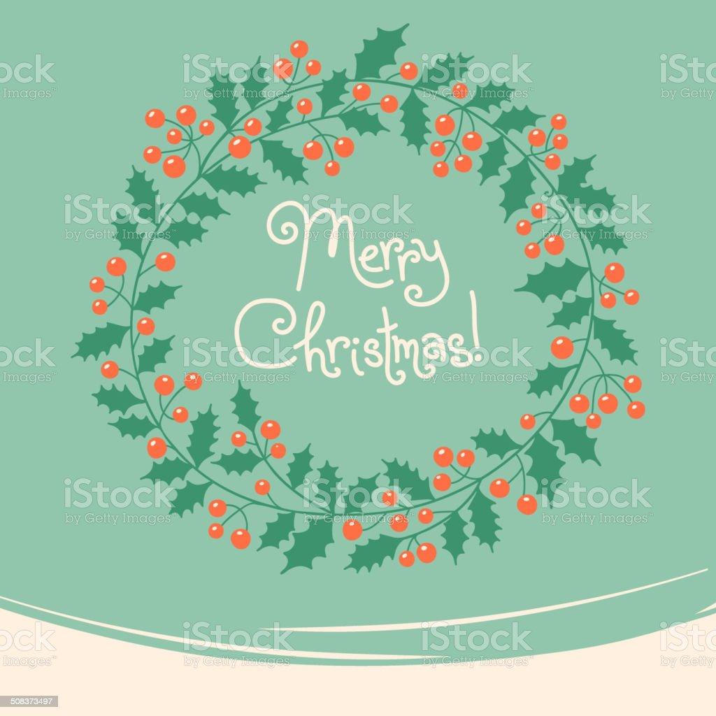Immagini Di Natale Vintage.Carta Con Ghirlanda Di Natale Vintage Immagini Vettoriali Stock E