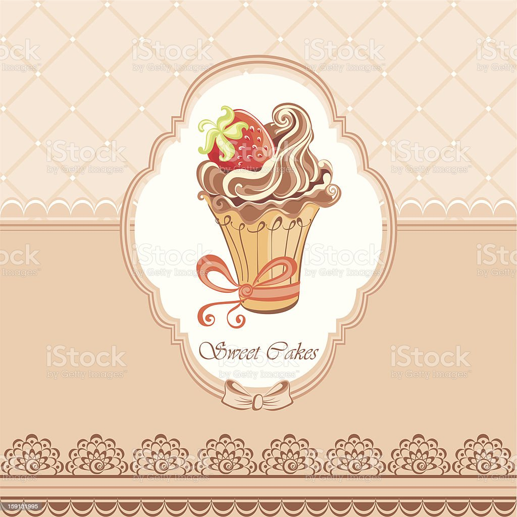 Vintage card with cupcake royalty-free vintage card with cupcake stock vector art & more images of baked
