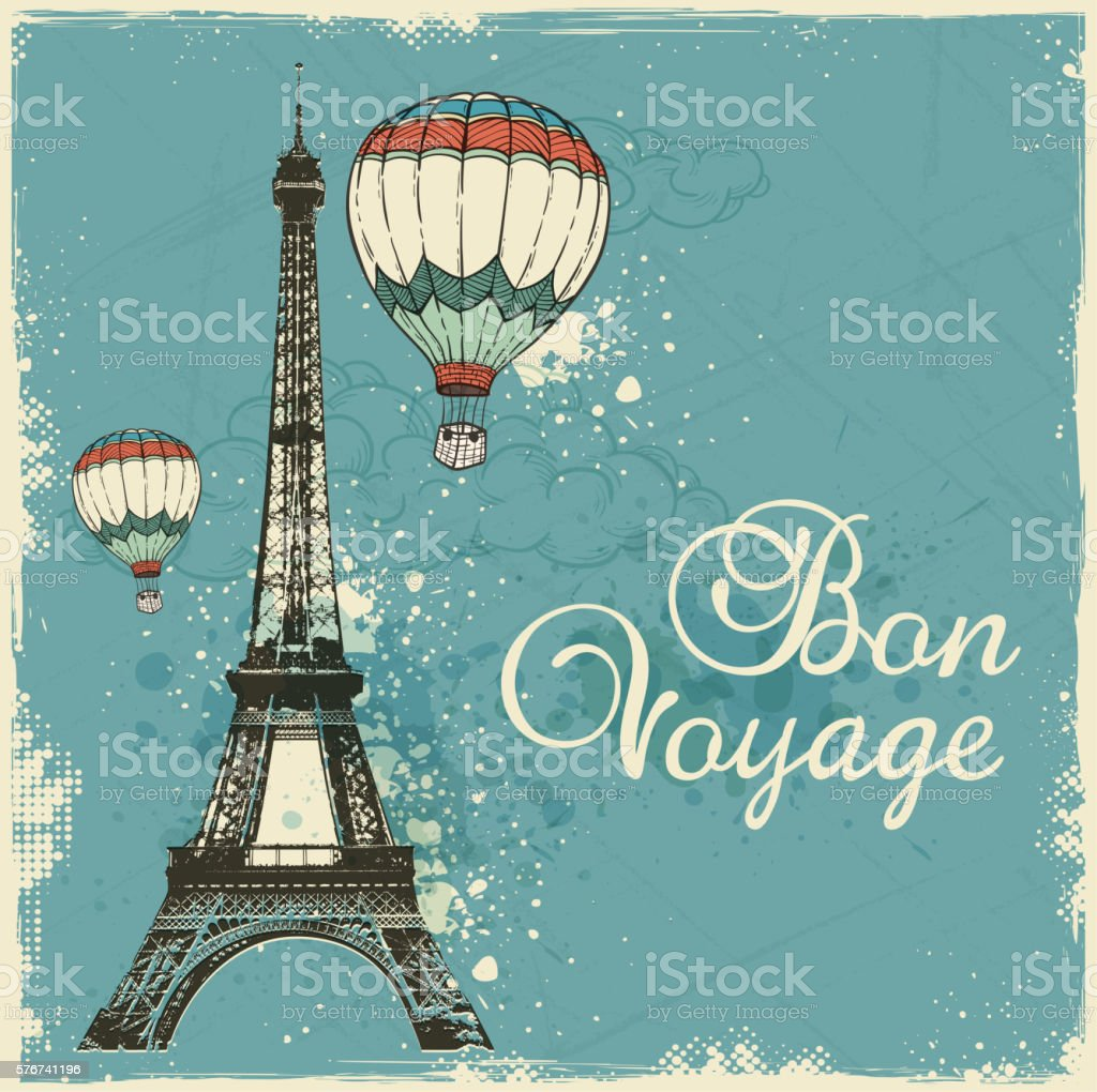 Vintage card with Eiffel Tower