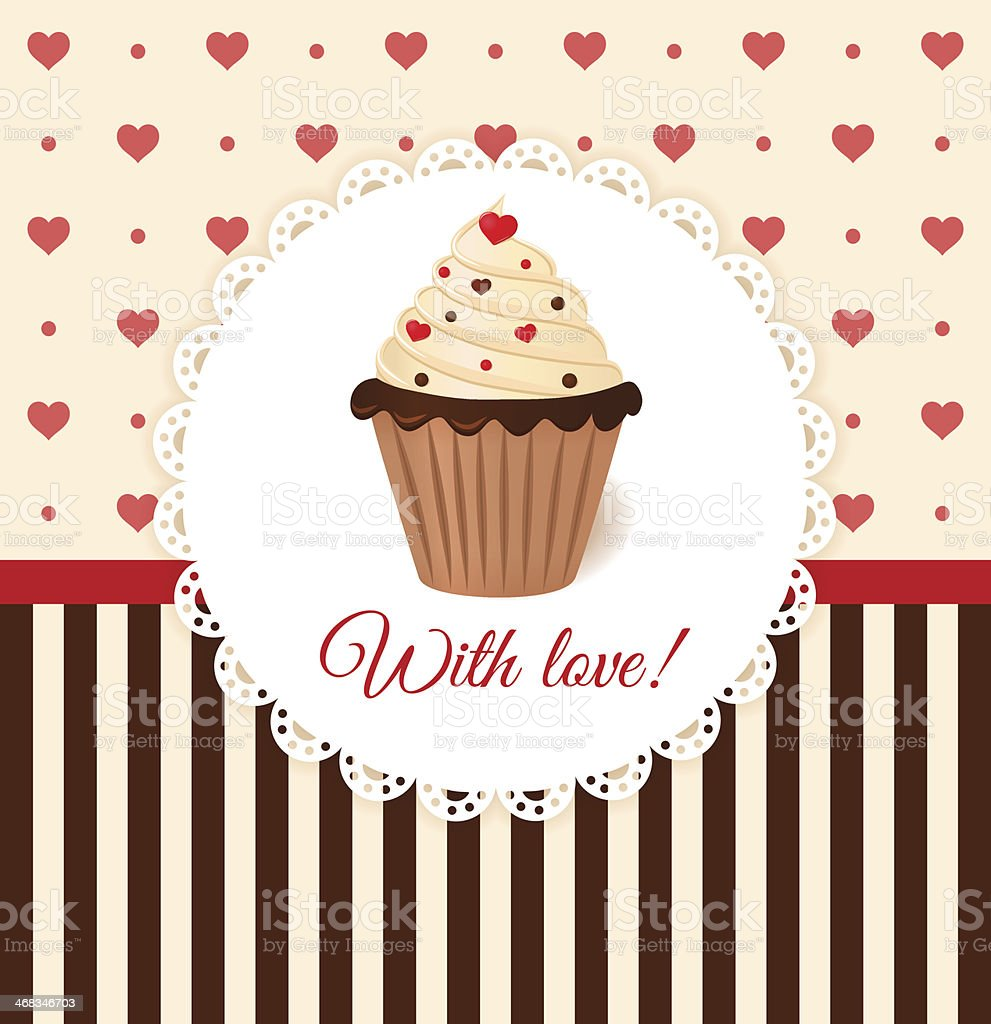 Vintage card with hearts and cupcake. royalty-free vintage card with hearts and cupcake stock vector art & more images of backgrounds