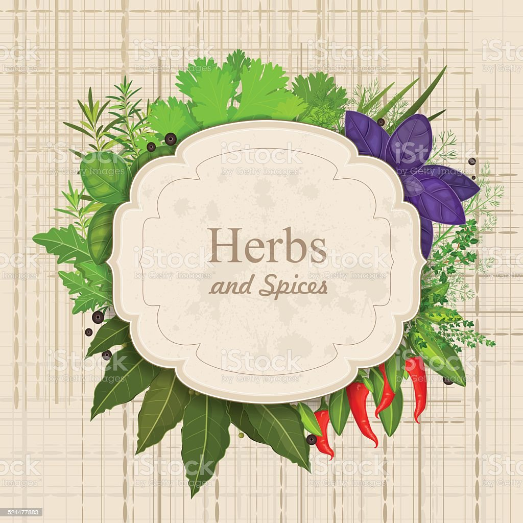 Vintage Card With Herbs And Spices On Canva Stock Illustration