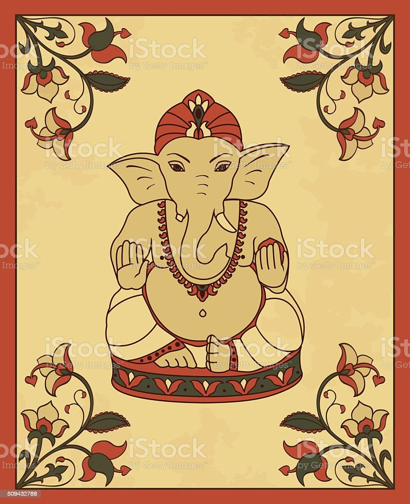 Vintage card with Lord Ganesha. vector art illustration