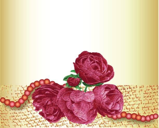 vintage karte mit roten rosen und rosa perlen - perlenstrauß stock-grafiken, -clipart, -cartoons und -symbole