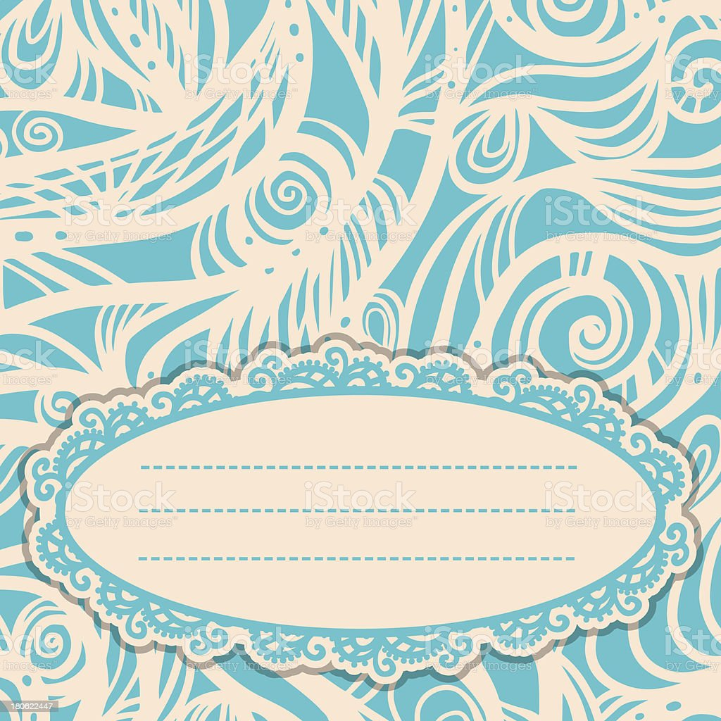Vintage card with space for text in white and blue royalty-free stock vector art