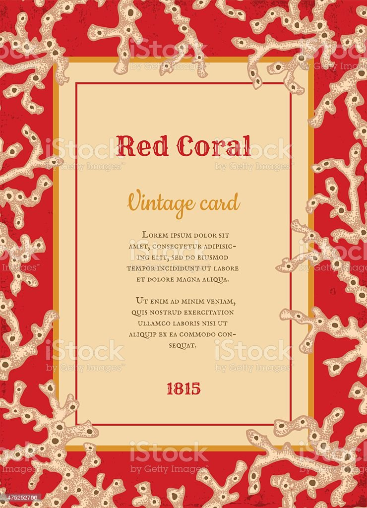 vintage card with white corals vector art illustration
