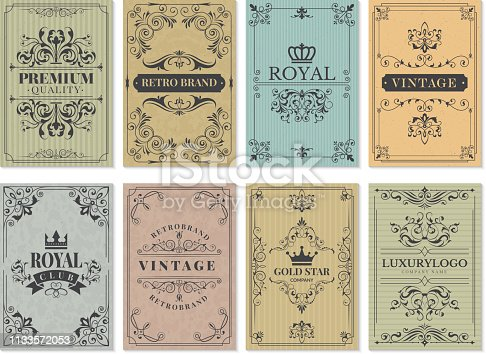 Vintage cards. Rustic victorian retro old pattern ornaments for frame design western backgrounds vector template. Illustration of pattern victorian, border ornament and decoration