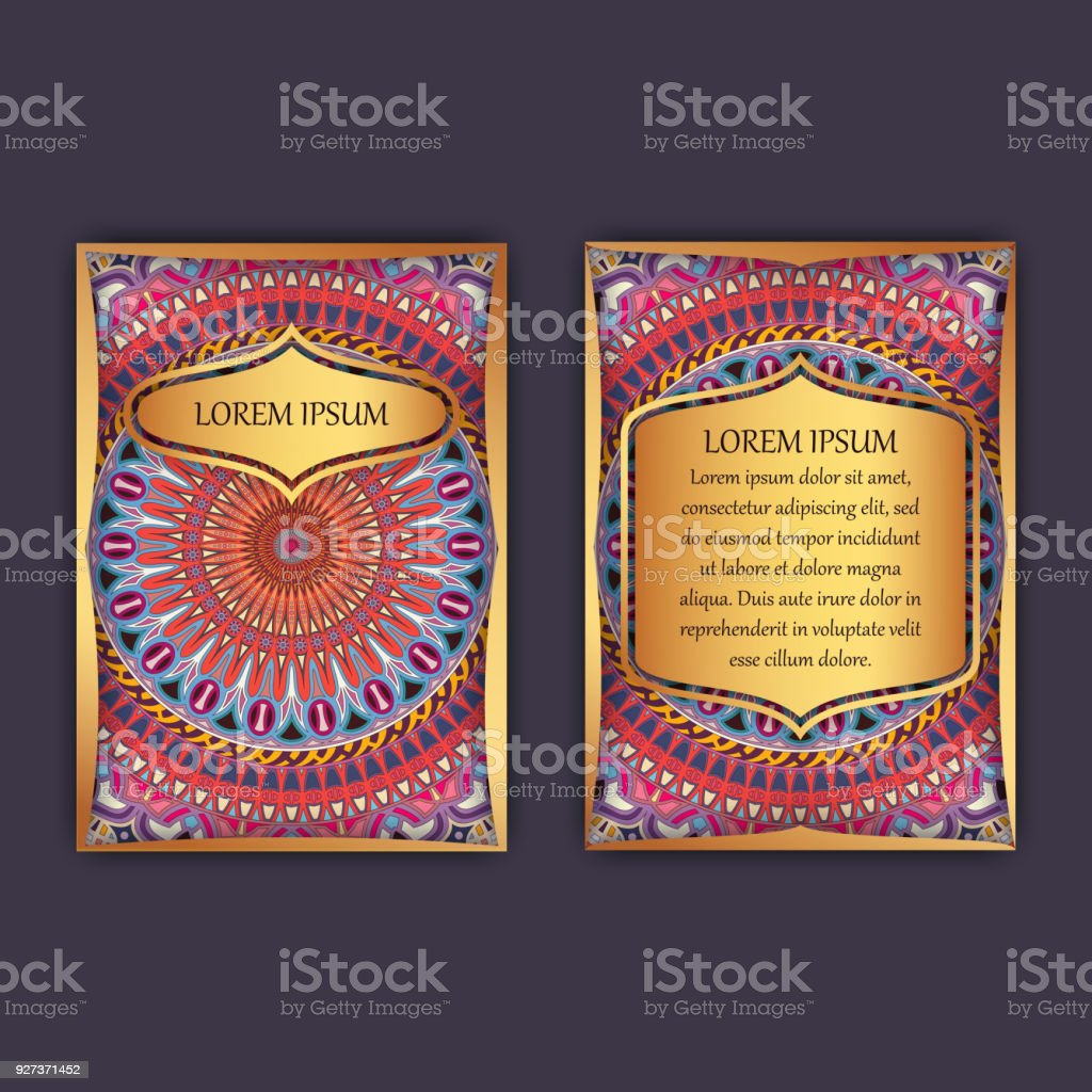 Vintage cards with floral mandala pattern and ornaments. Front page and back page. Luxury design. - Royalty-free Abstract stock vector