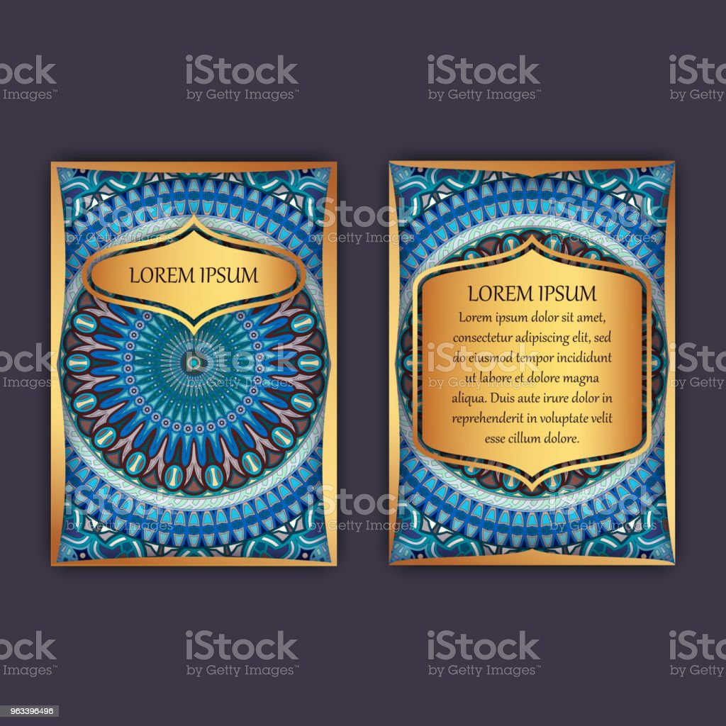 Vintage cards with floral mandala pattern and ornaments. Front page and back page. Luxury design. - Grafika wektorowa royalty-free (Abstrakcja)