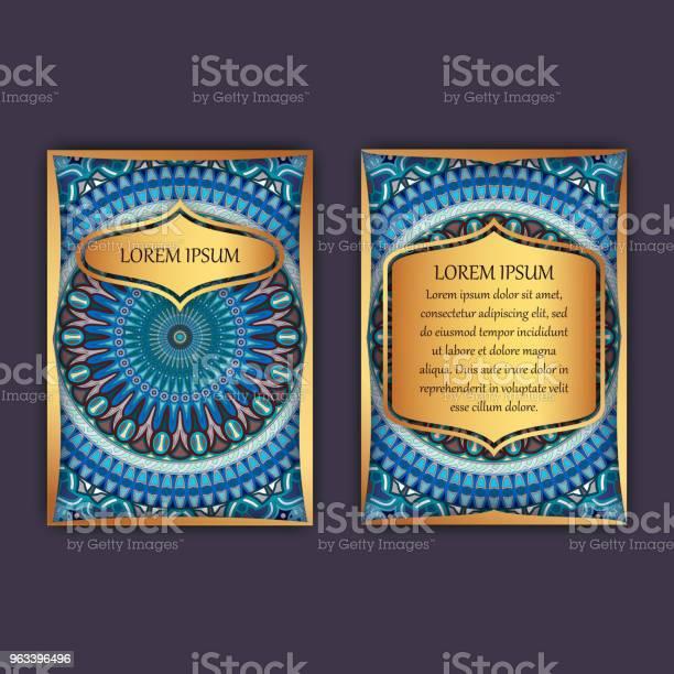 Karty Vintage Z Kwiatowym Wzorem Mandali I Ornamentami Strona Główna I Tylna Strona Luksusowy Design - Stockowe grafiki wektorowe i więcej obrazów Abstrakcja