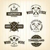 Vector set of vintage carpentry emblems..