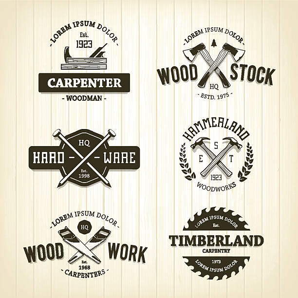 vintage carpentry emblems - carpenter stock illustrations, clip art, cartoons, & icons