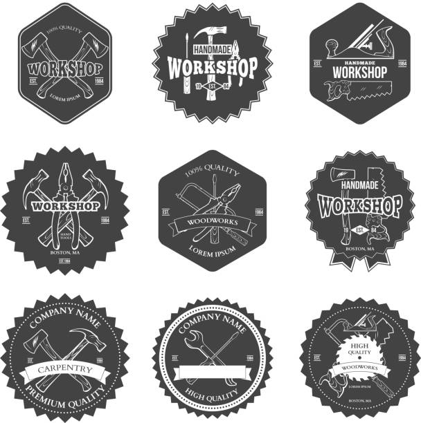 vintage carpentry tools, labels and design elements vector - carpenter stock illustrations, clip art, cartoons, & icons