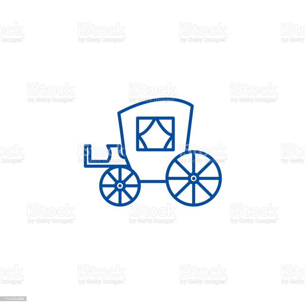 Vintage carriage,antique transport line icon concept. Vintage carriage,antique transport flat  vector symbol, sign, outline illustration.
