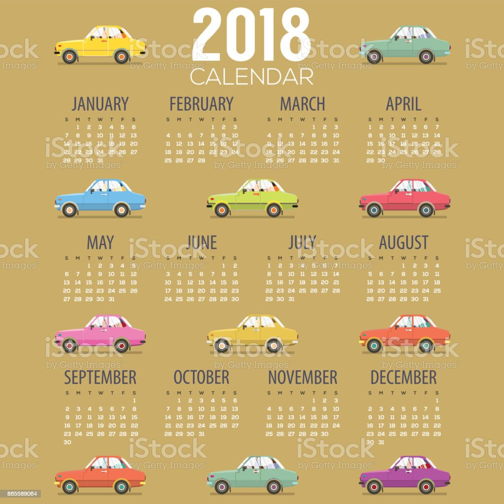 2018 Vintage Cars Flat Design Printable Calendar Starts Sunday ...