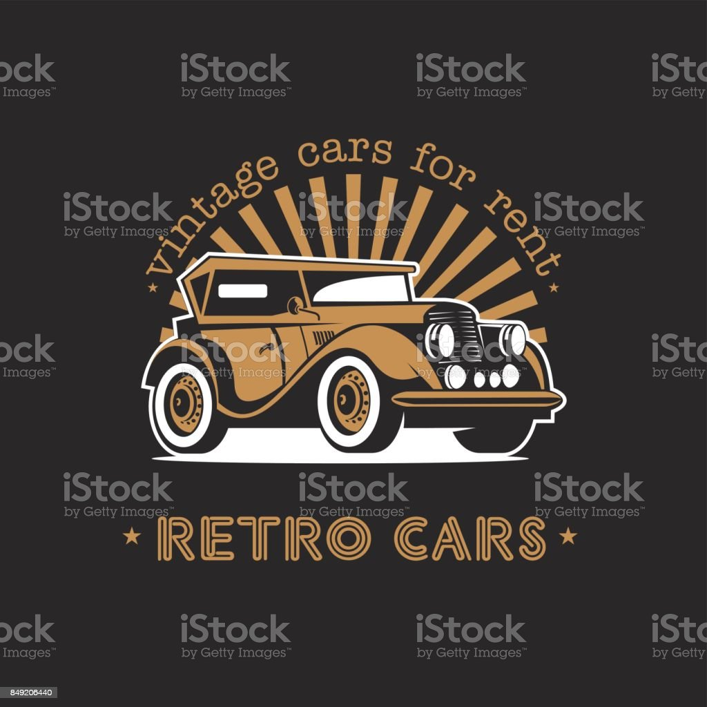 Vintage cars for rent. Retro car. Vector icon on a black background. vector art illustration