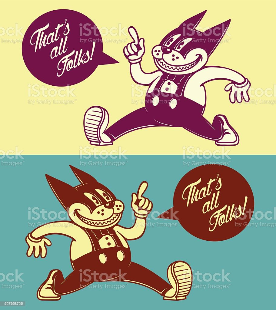 Vintage cartoon cat character, walking with speech bubble, 50s ads vector art illustration