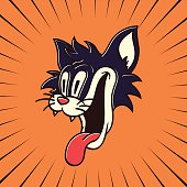 istock vintage cartoon character hungry crazy cat smiling with tongue out 467583602