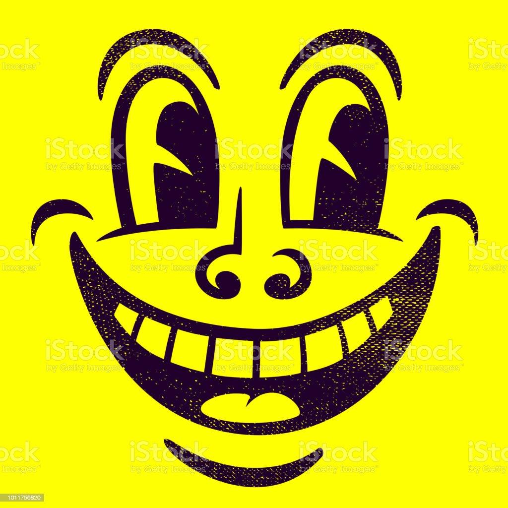 ヴィンテージ漫画幸せなパイ笑顔顔簡単な手描きベクトル図 アイコンの